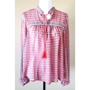 Lucky Brand Pink Peasant Boho Long Sleeve Top L